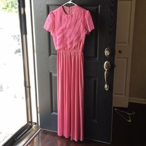 Pretty in Pink Vintage Polyester Long Maxi Dress
